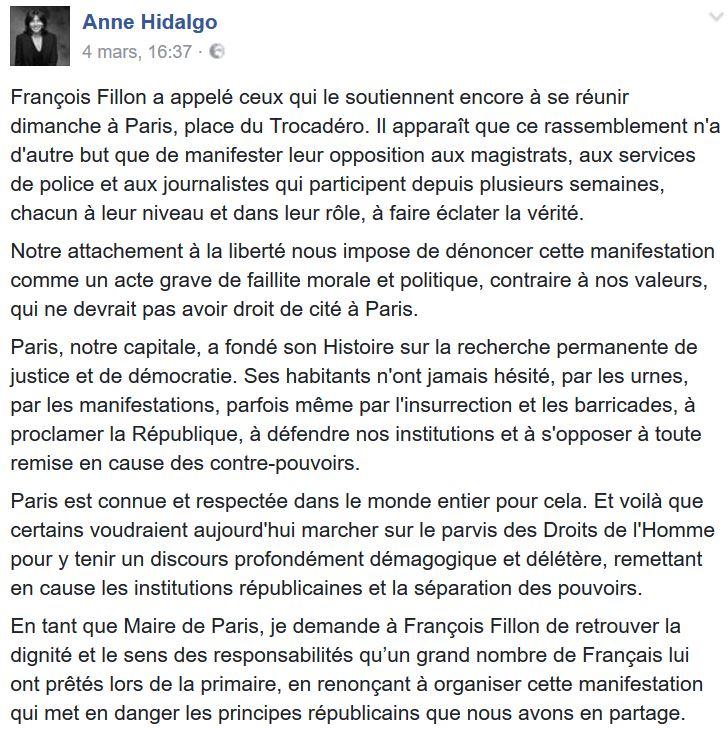 Hidalgo demande à Fillon de renconcer au Trocadéro-04.03.2017