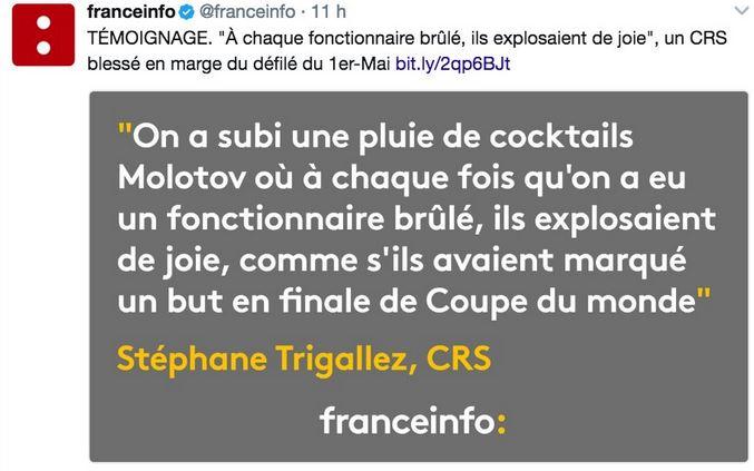 France Info-Témoignage policier sur cocktails molotov du 1er ma