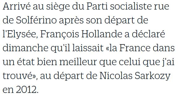 Hollande - déclaration rue de Solférino le 14.05.2017