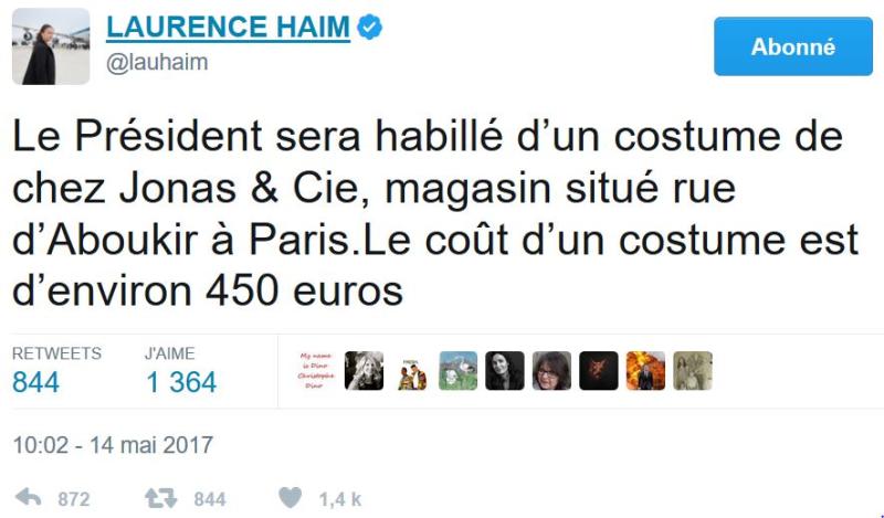 TWEET Laurence Haim costume Macron-14.05.2017