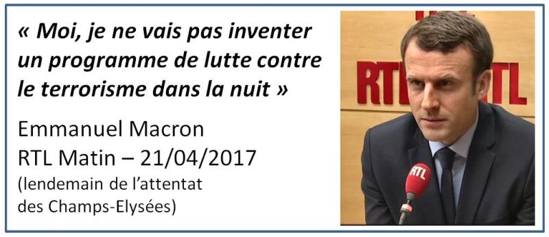 Macron-pas de programme de lutte contre le terrorisme dans la nuit-RTL-21.04.2017