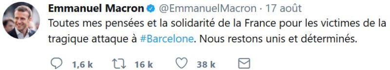 Macron TWEET Barcelone du 17.08.2017