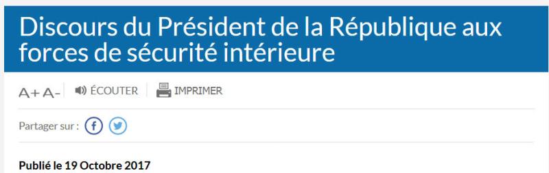 Macron discours aix forces de sécurité intérieure-18.10.2017