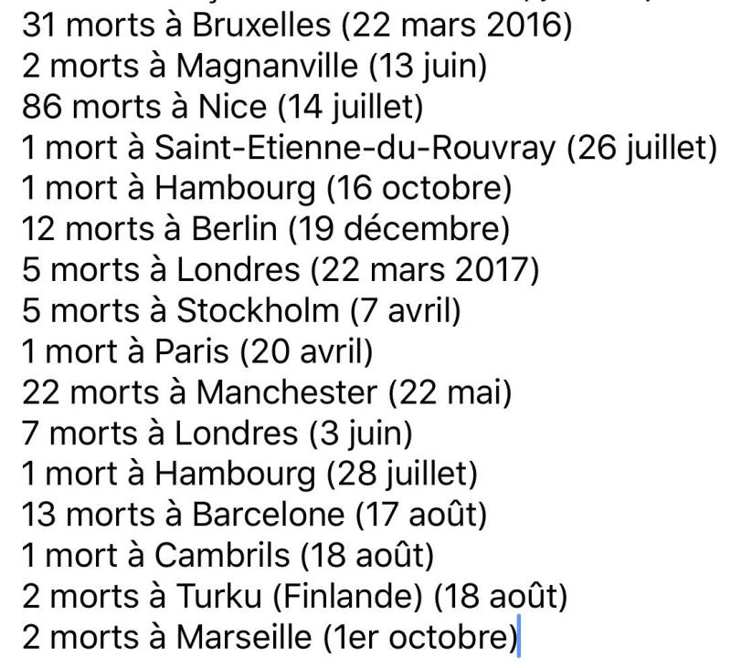 Listes des morts attentats islamistes depuis Bataclan-01.11.2017