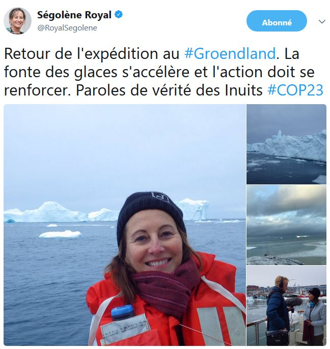 Marie-Ségolène Royal au Groendland-nov 2017