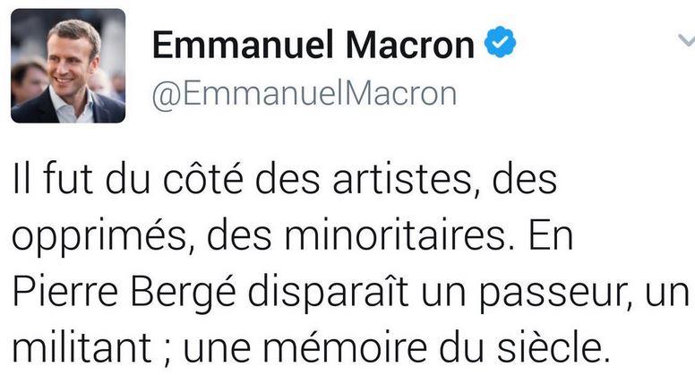 Hommage de Macron à Pierre Bergé -sept2017