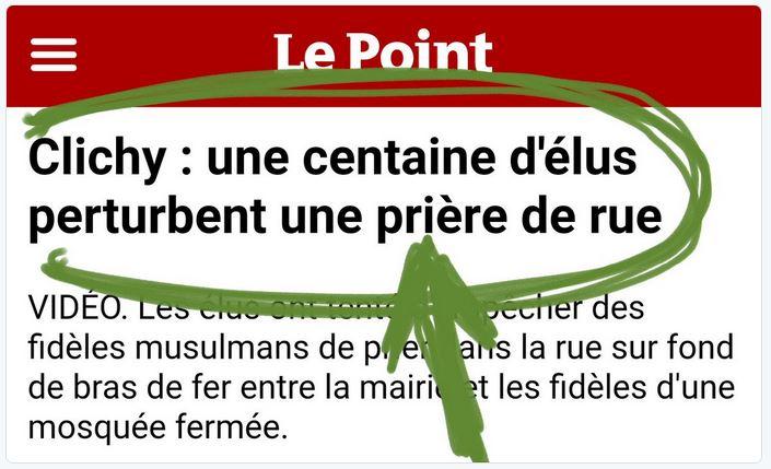 Clichy-100 élus perturbent une prière de rue-10.11.2017