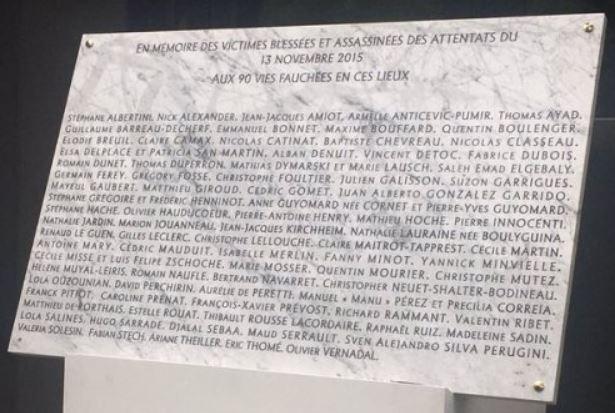 Plaque commémorative attentat Bataclan 13 novembre 2015
