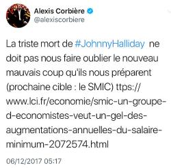 Alexis Corbière - Tweet mort Johnny Hallyday - 06.12.2017-1