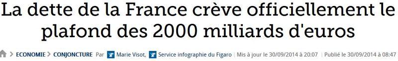 Dette officielle 2000 milliards d'euros-sept 2014