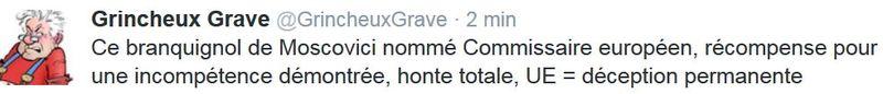 TWEET GG - Moscovici nommé commissaire