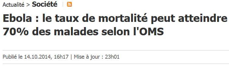 Le taux de mortalité Ebola atteint 70 pour cent des malades