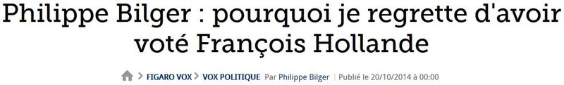 Philippe Bilger regrette d'avoir voté Hollande-20.10.2014