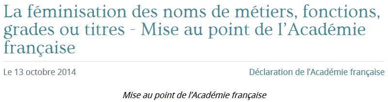 Académie française - féminisation des noms de métiers - octobre 2014