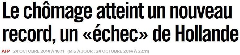 Chômage en sept 2014 - Titre Libération