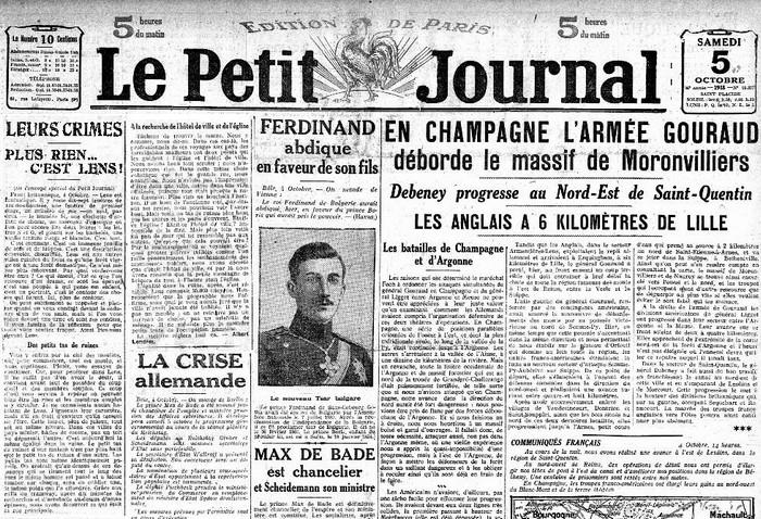Le Lensois normand-Le Petit Journal 5 octobre 1918