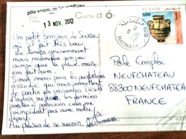 Carte postale à Pôle Emploi