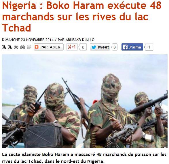 AFRIK.COM - 23.11.2014- Boko Haram assasine 48 commerçants