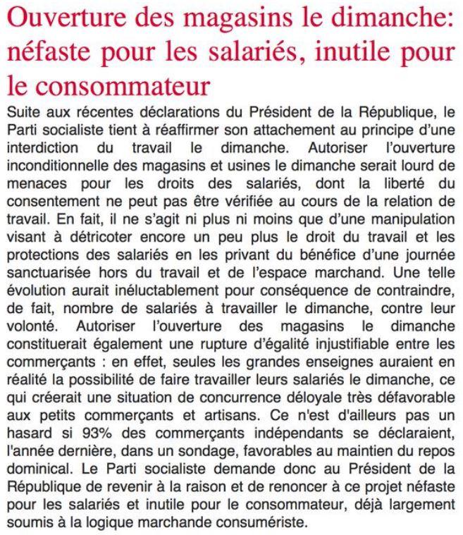 PS - communiqué du 03.09.2007 contre le travail le dimanche