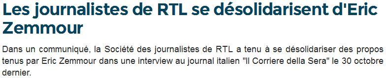 Les journalistes de RTL se désolidarisent d'Eric Zemmour-17.12.2014