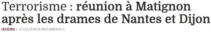 Terrorisme - Réunion à Matignon - 23.12.2014