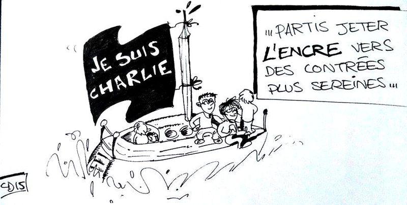 Charlie Bebdo  - Dessin jeter l'encre - 10.01.2015