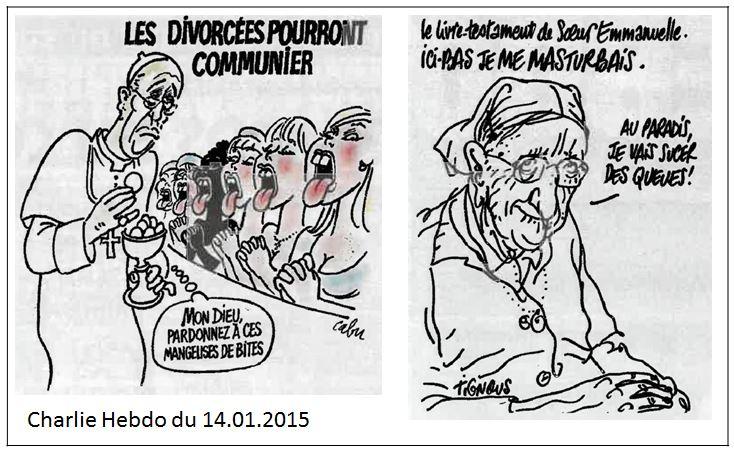 TWEET - Charlie Hebdo -deux dessins christianophobes - N° du 14.01.2015