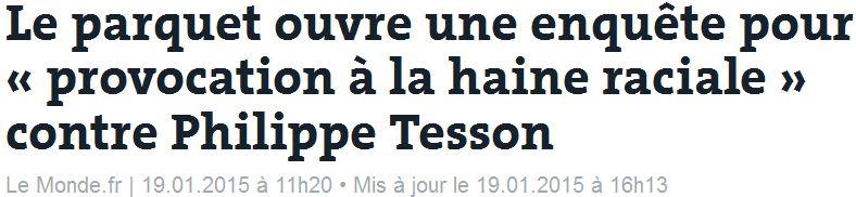 Philippe Tesson - TITRE incitation haine raciale - 19.01.2015