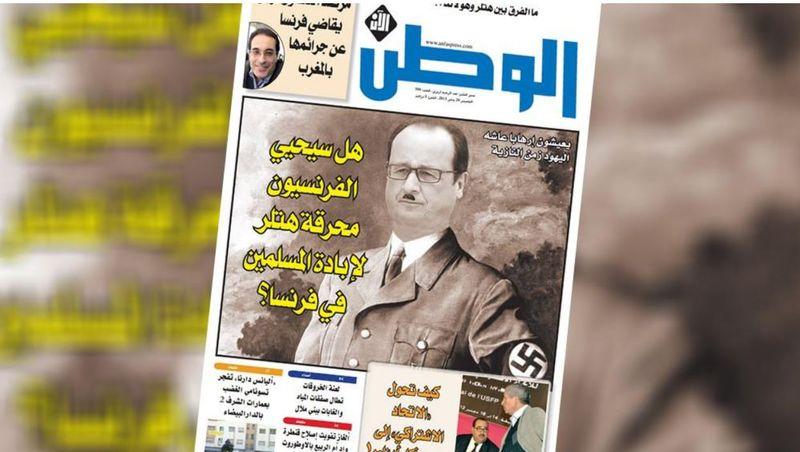 Hollande en Hitler dans  un magazine marocain-janvier 2015