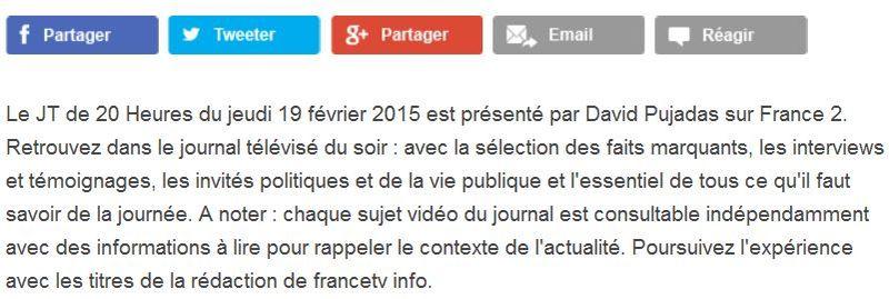 JT France Télévisions - paragraphe d'intro-22.02.2015