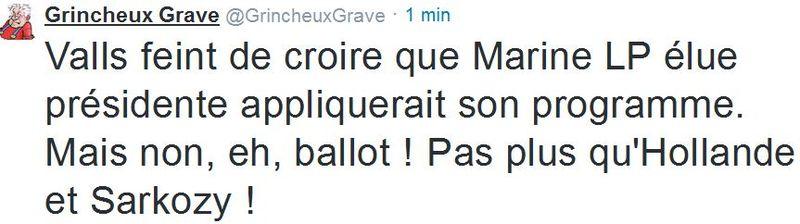 TWEET-Valls et le programme de Marine. Le Pen-09.03.2015