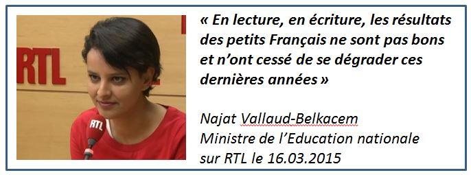 Tweet - Vallaud-Belkacem niveau en lecture-16.03.2015