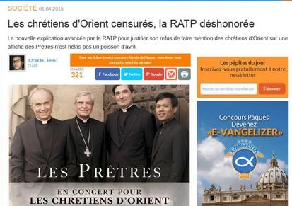 Concert Chrétiens d'Orient-censure RATP-04.04.2015