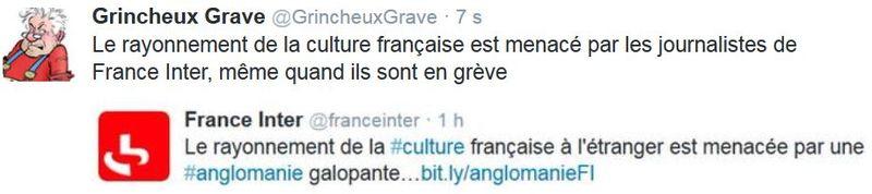 Tweet GG sur France Inter et la culture- 06.04.2015
