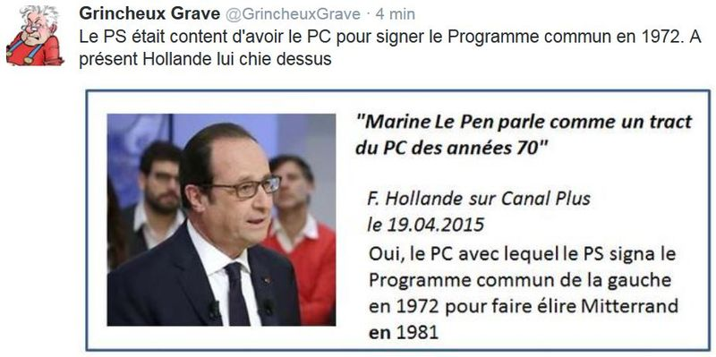 Tweet Hollande chie sur le PC-19.04.2015