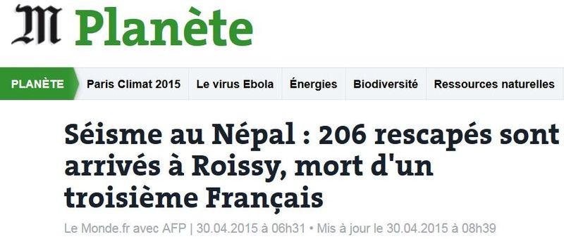 Népal les Français rescapés