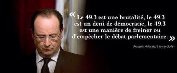 Déclaration, de Hollande sur le 49.3
