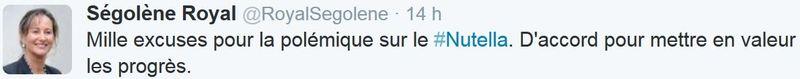 TWEET-Ségolène Royal - Mille excuses pour la polémique Nutella-17.06.2015