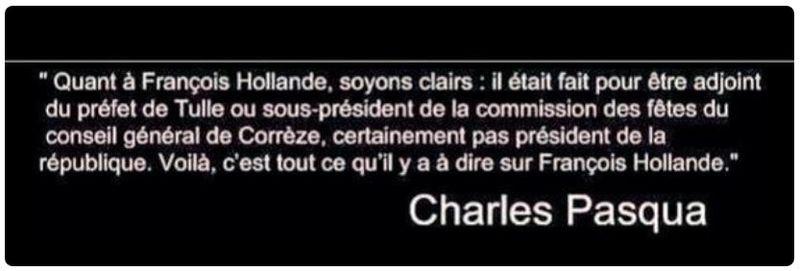 Charles Pasqua jugement sur Hollande