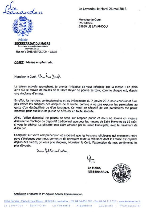 Le Lavandou - Lettre du Maire au curé - mai 2015