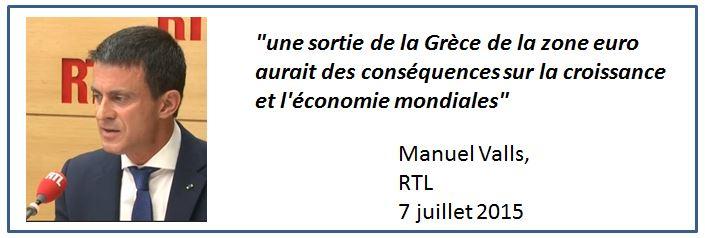 Valls sortie de la Grèce de l'Euro-07.07.2015-