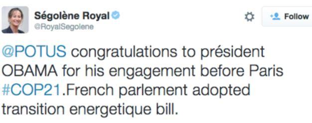 TWEET - Royal félicite Obama pour ses fiançailles