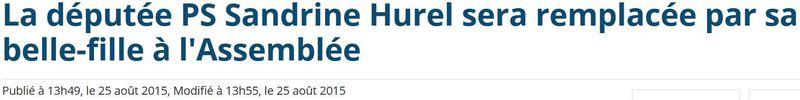 Sandrine Hurel cède sa place de députée- 25.08.2015