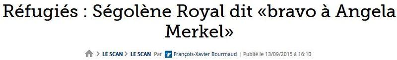Ségolène Royal dit bravo à Angela Merkel-13.09.2015