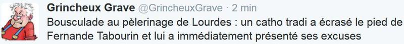 TWEET GG - bousculade à Lourdes - 27.09.2015