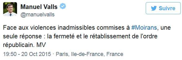TWEET de Valls au sujet de Moirans-20.10.2015