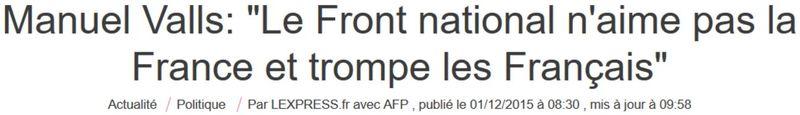 VALLS-Le FN n'aime pas la France-30.11.2015