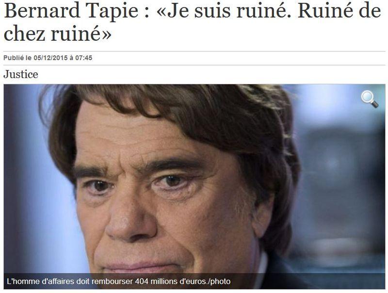 Bernard Tapie ruiné de chez Ruiné-04.12.2015