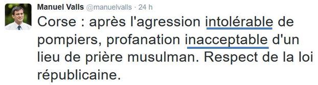 TWEET-Valls agressions en Corse-25.12.2015