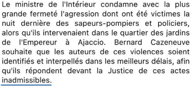 Cazeneuve-Ajaccio-actes inadmissibles-26.12.2015